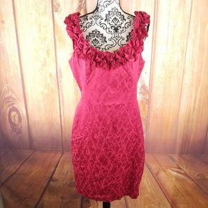 Maggy London Red Dress w/ Ruffle Detail